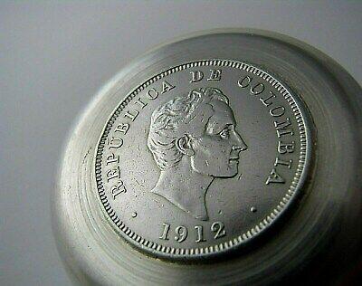 Colombian Coin Silver Ashtray 1912 50 Centavos 1942 10 Centavos 900 Silver Coins 5