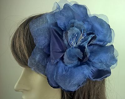 navy blue satin flower fascinator millinery burlesque wedding hat bridal race 2