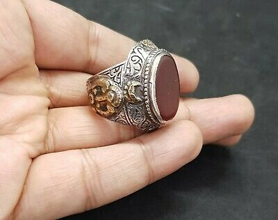 Old Yemani Agate Stone Solid Silver And Gold Plated Unique Ring #H76 7