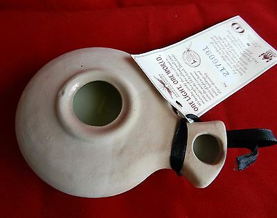 Biblical Classic Jerusalem Roman Oil lamp Clay Pottery Placed w Candle Inside Re 2