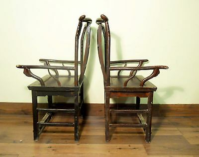 Antique Chinese High Back Arm Chairs (5683) One Pair, Circa 1800-1849 12