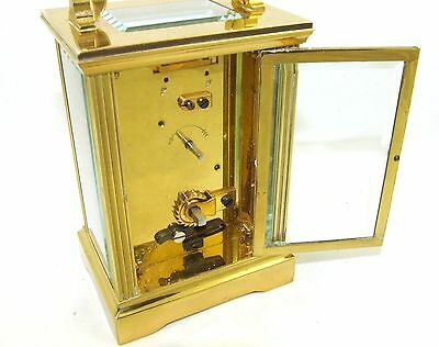 MAPPIN & WEBB Brass Carriage Mantel Clock Timepiece with Key  Working Order (54) 9