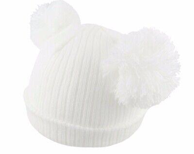 Baby 2 Pom Pom Hat Double Bobble Beanie Knitted Winter Warm Boy Girl Newborn-12M 11