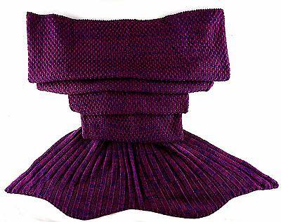 Mermaid Blankets Tail Handmade Crocheted  Sofa  Beach Quilt Rug Knit√ FUCHSIA√