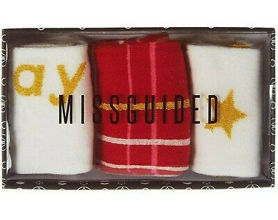 Ladies Girls 3 Pairs Missguided Patterned Cotton Socks Gift Boxed UK Size 4-8 6