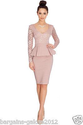 Ladies Amy Childs Style Lace Peplum Dress Vintage Bodycon
