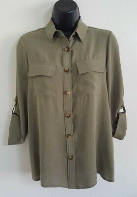 NEW ex DP Khaki Green Button Up Collared Casual Loose Fit Blouse Shirt Top 8-16 3