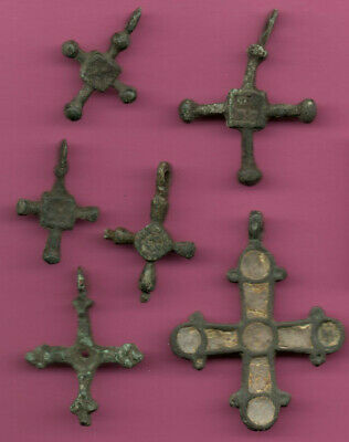Lot of 6 Russia Bronze Ortodox Cross ca 1050 11-12th Viking Byzantine 670 2
