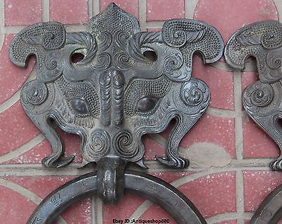 "13"" Chinese FengShui Purple Bronze Guardion Beast Animal BiXie Door Knocker Pair 3"