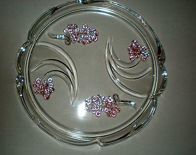 MIKASA Crystal Cake Plate Raised Pink Lavender Grapes Or Berries ...