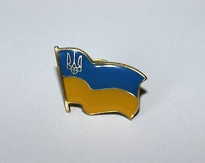 ... Ukraine Ukrainian National Country Flag Lapel Pin Tryzub Trident Metal