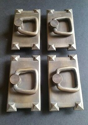 4 Mission Stickley Brass Antique Style Horizontal Handles Ring Pulls #H26