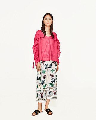 ZARA Ramie Blouse Long Sleeve Ruffle /& Bow Pink//Cobalt New RT$43 Top XS+; S+