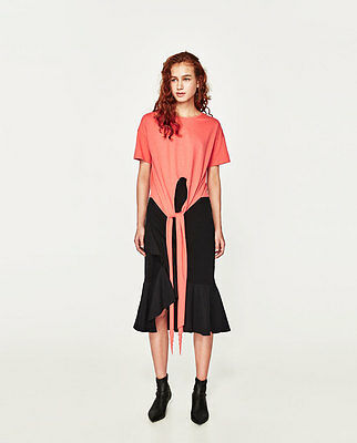 7458d9d79 ... ZARA New T-Shirt With Front Knot Pink White Black Short Sleeve Stylish  Top S M L