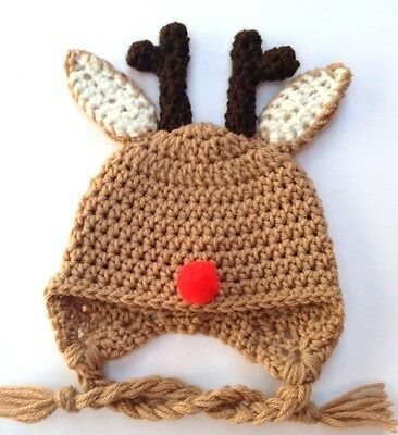 Crochet Reindeer Ear Flap Baby Hat Knit Infant Toddler Cap Beanie