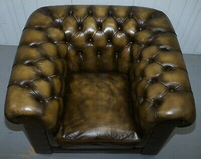 Stunning Pair Of Vintage Chesterfield Leather Club Armchairs Feather Cushions 11