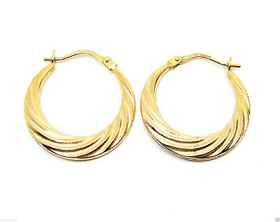 bef0e43696e50 9CT HALLMARKED YELLOW Gold Ripple Twist 22Mm Round Creole Hoop Earrings