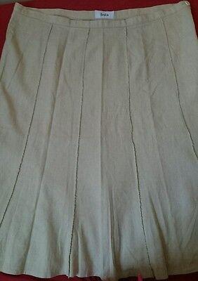 Linen skirt 14, 36' waist, 28' length, ivory cream,10 panel, button+zip. 6