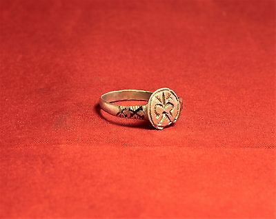 Medieval Knight's Silver Seal Ring - Lily Seal, 12. Century, Silver Inlay, Rare 5