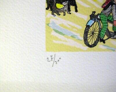 """ANGIOLA BERNARDELLI - """"Suore in bici""""  - Serigrafia cm 40x30 4"""