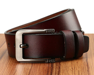 Men's Greek Key Metal Buckle Handcrafted Needlepoint Genuine Leather Jean Belt 7