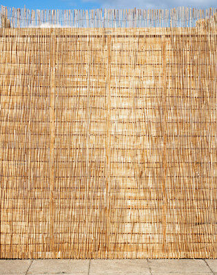 Natural Peeled Reed Screening Roll Garden Screen Fence Fencing Panel Wooden 4m 3