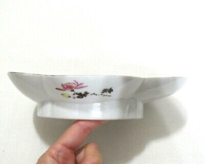 """Antique Japanese Hand Painted Oval Porcelain Plate or Serving Bowl 8.5"""" 5"""
