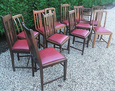 LARGE COLLECTION OF OAK 1920s DINING CHAIRS - IDEAL FOR PUBS, RESTAURANTS ETC 8