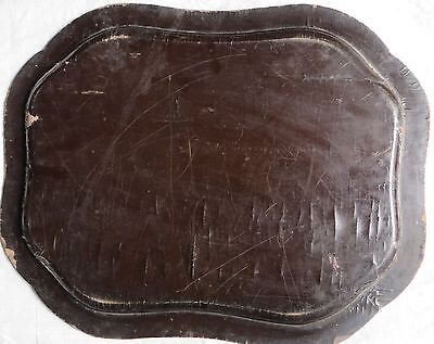 Antique BLACK LACQUER Gold PAINTED Wood Serving Tray Mughal ISLAMIC Persian 12