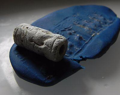 ZURQIEH - cy9- ANCIENT CANAANITE FAIENCE CYLINDER SEAL. 1700 - 1550 B.C 3