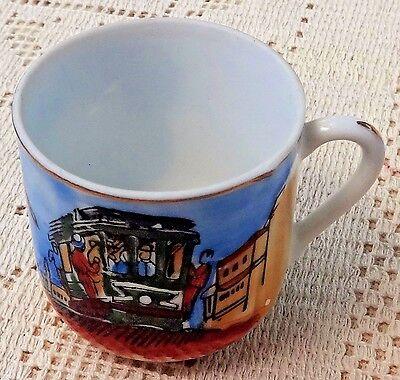 Vintage Souvenir Hand Painted Porcelain Cup & Saucer - San Francisco Cable Car 8