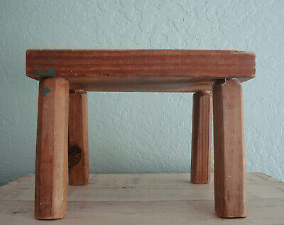 Small Wood FARMHOUSE MILKING STOOL- VTG Primitive Small Bench, Childs Furniture 9
