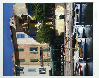 "PETER SYMONDS ""Quayside Caf?"" boats RARE ARTIST'S PROOF SIZE:47cm x 40cm NEW 2"