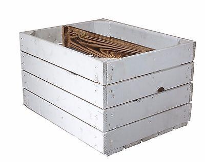 2er-Set weiße Apfelkisten mit geflammten Zwischenboden// Holzkiste// Obstkiste//