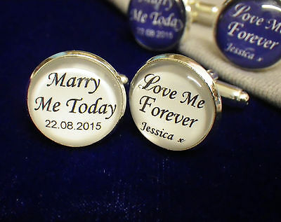 Personalised Cufflinks Wedding, From Bride to Groom Day Name & Date, Mens 2