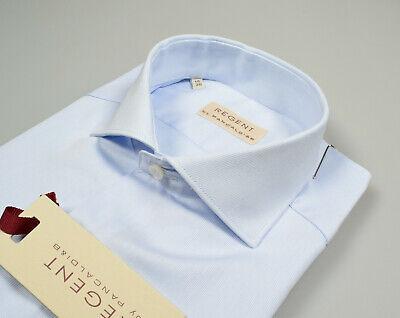 Camicia Ingram Slim Fit Celeste micro disegno puro Cotone collo mezzo francese