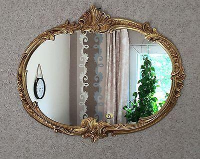 Wandspiegel Barock Oval Antik Gold 52x42 Badspiegel Vintage Ovaler