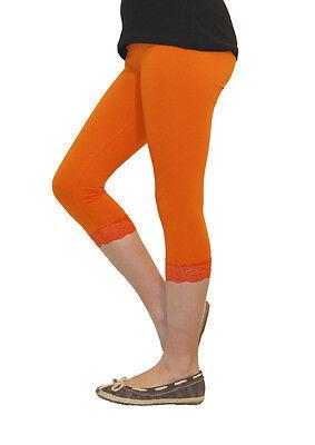 Mädchen Kinder Leggings Leggins Capri 3/4 kurz mit Spitze kurze Hose Baumwolle 4