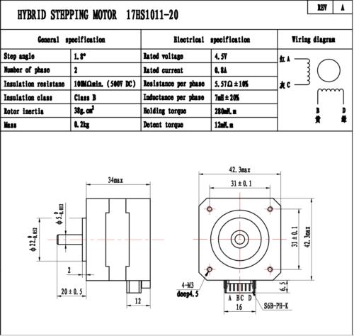 Nema 17 Bipolar Stepper 1.8deg 12v 0.8A 26Ncm 42x42x34mm 4-wires CNC 2