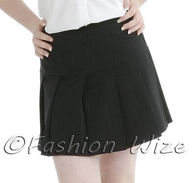 Girls Womens Pleated School Skirt Drop Waist Grey Black Navy Ages 5-16 Size 6-24 9