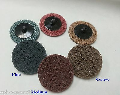 45 Mix 2/'/' 50mm Sanding Roloc Discs Fine Grit Roll Lock Surface Conditioning Pad