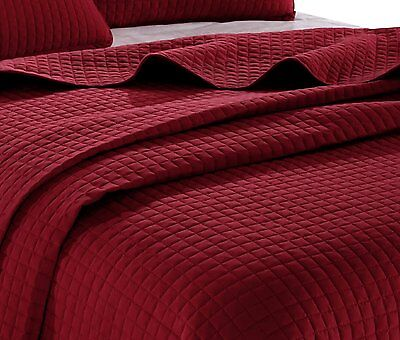 1 Of 6FREE Shipping Burgundy Red Solid Color Hypoallergenic Quilt Coverlet  Bedspread Twin Queen King