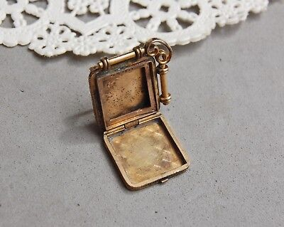 locket brooch pin antique gold fill engraved chatelain 2 photo cq r