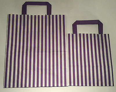 FLAT STRIPE Handle Coloured Paper Bags For Parties & Christmas Bags 10