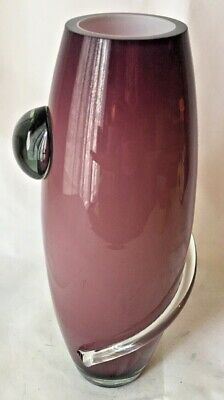Art Glass Blown Vase Amethyst Color on White Clear Glass Applied Swirl Accent 4
