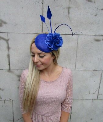 Royal Blue Rose Quill Flower Feather Pillbox Hat Fascinator Hair Clip Races 5610 2