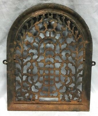 One Antique Arched Top Heat Grate Grill Stars Flowers Pattern Arch 11X14 635-18C 8