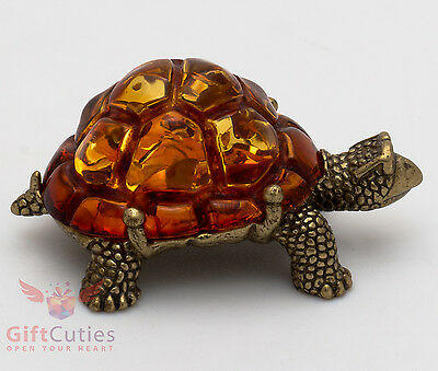Solid Brass Amber Figurine fastest Tortoise Turtle talisman Totem IronWork