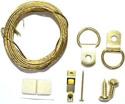 Brass Single D Ring Picture Frame Hanging Screws Wire Hook Pin Pad Canvas Kit 2