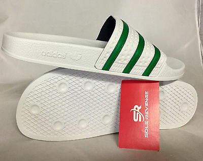 a04bd4d59 ... New Adidas ADILETTE Slides Sandals Mens White Green Beach Flip Flops  S78678 4